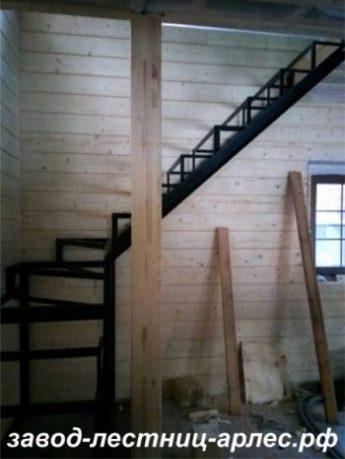 Металлокаркас лестницы Г-образный с забежными ступенями
